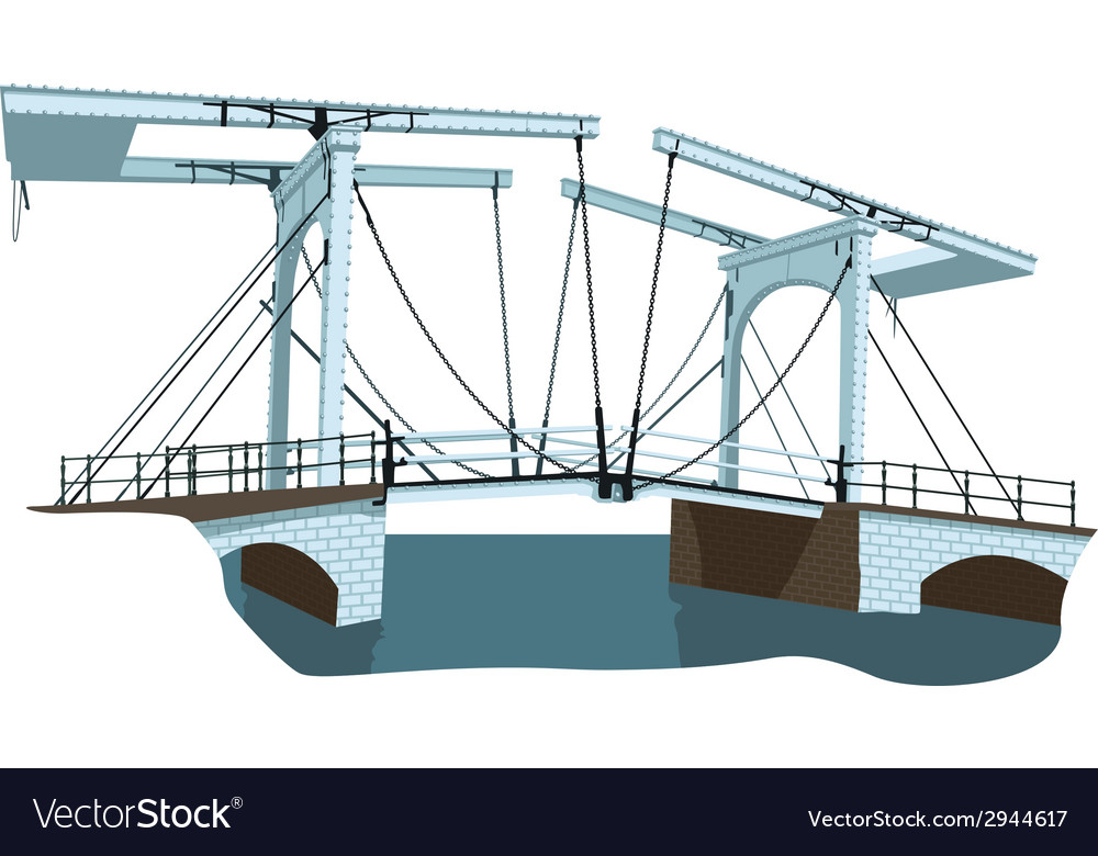 Old bridge in amsterdam vector