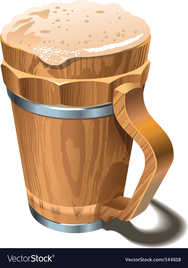 Beer wooden cup vector