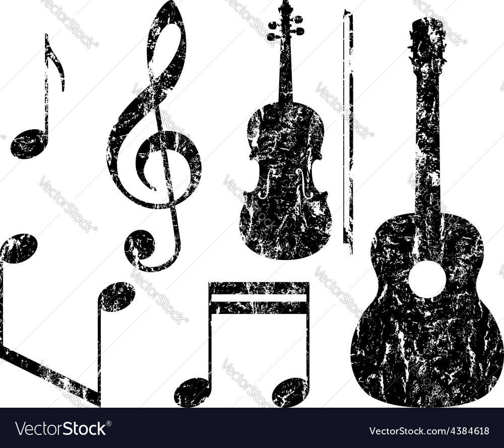 Grunge music elements vector