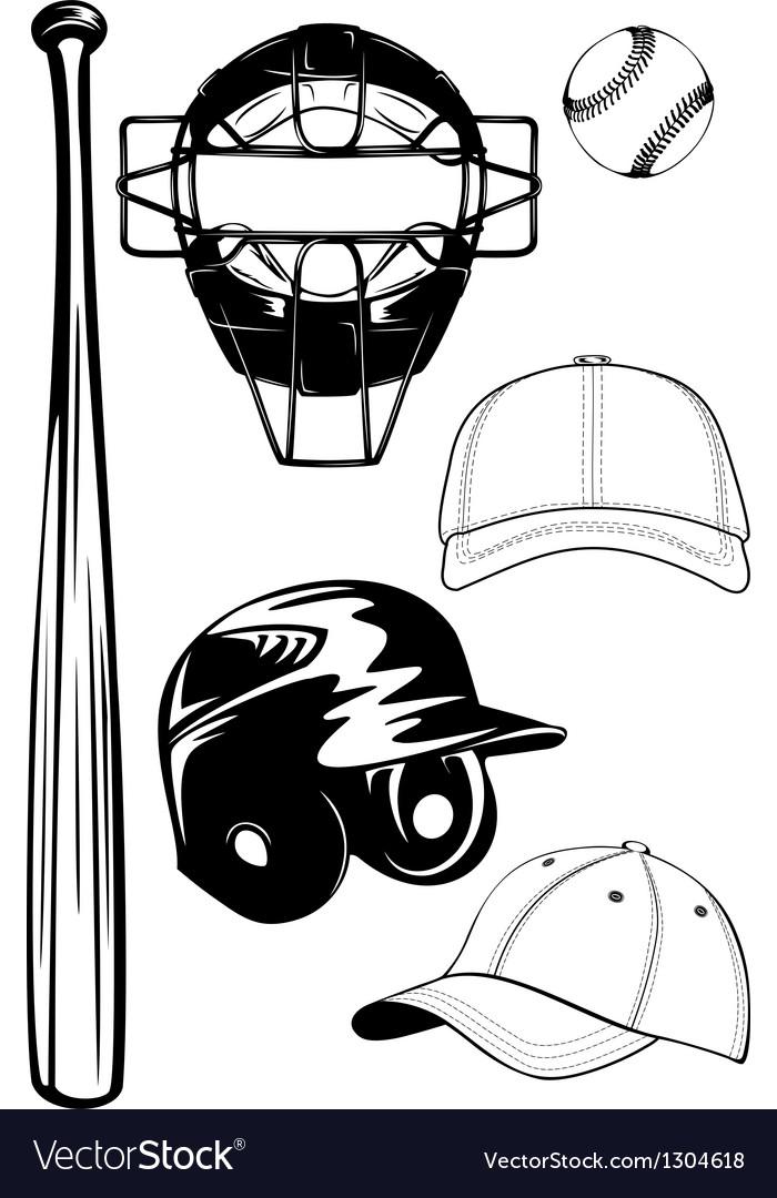 Helmet bat cap ball mask set vector