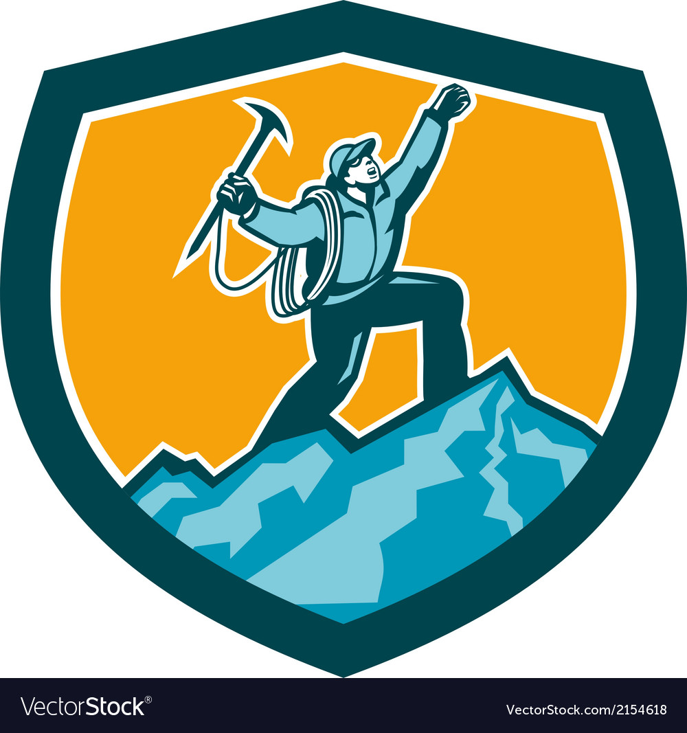 Mountain climber reaching summit retro shield vector