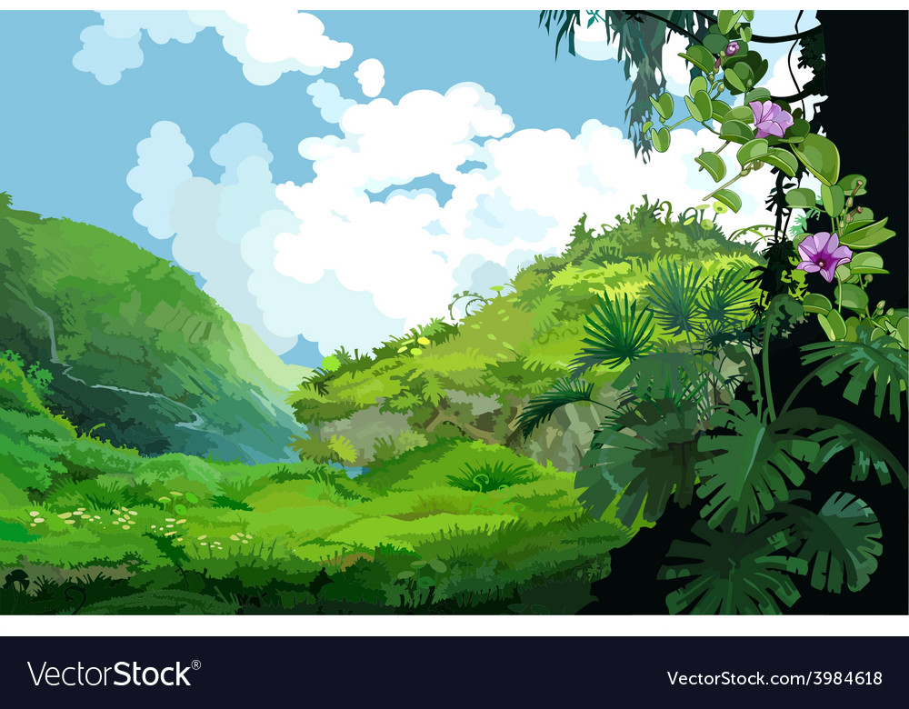 Mountain landscape with tropical plants vector