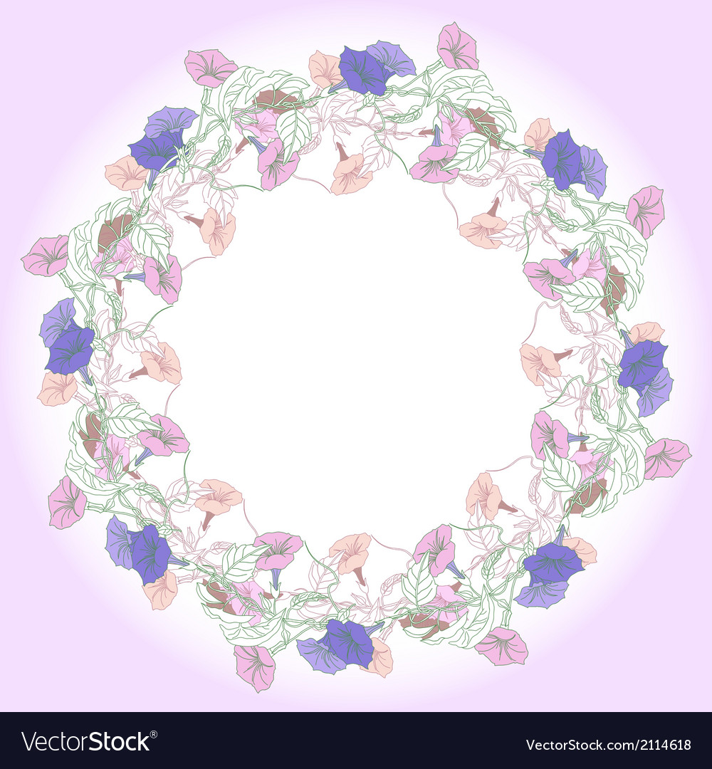 Wreath with pink and blue bindweed vector