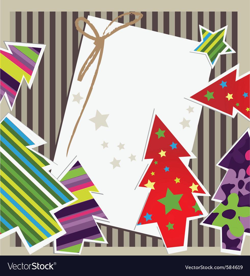 Paper xmas card vector