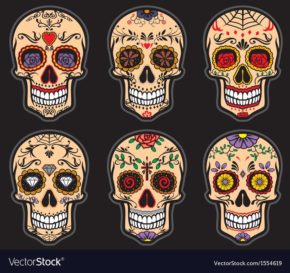 Sugar skull day of the dead set vector