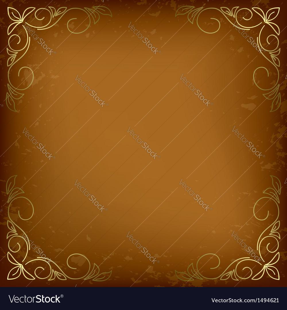 Dark beige card with golden decor vector