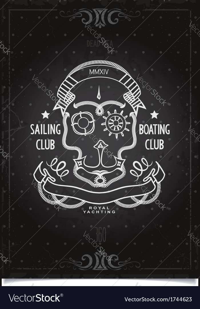 Marine sports poster sailing and boating club vector