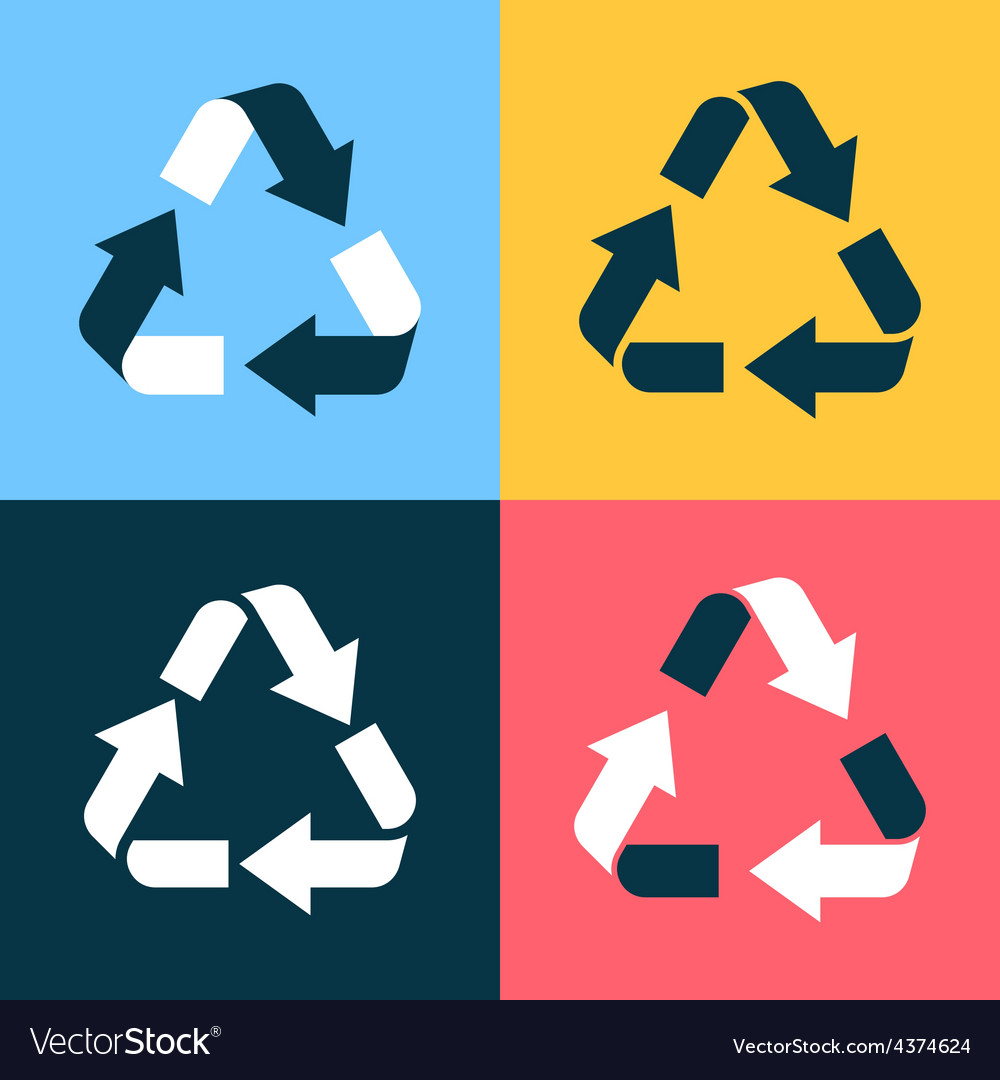 Recycle symbol icons vector