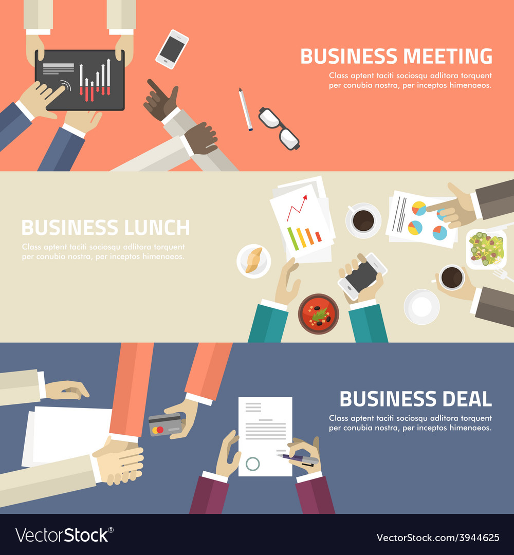 Flat design concept for business meeting lunch vector