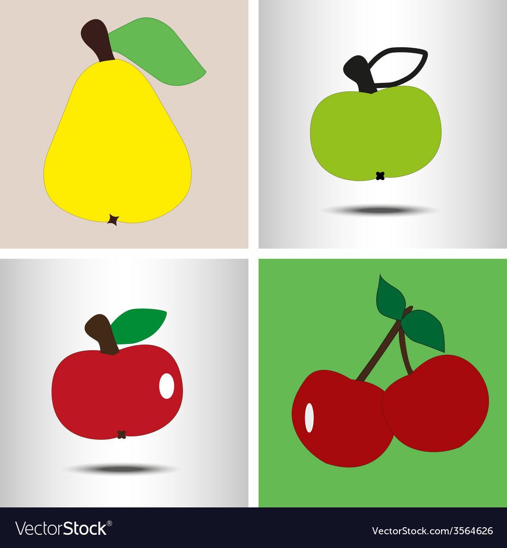 Set fruit pear apples berry vector
