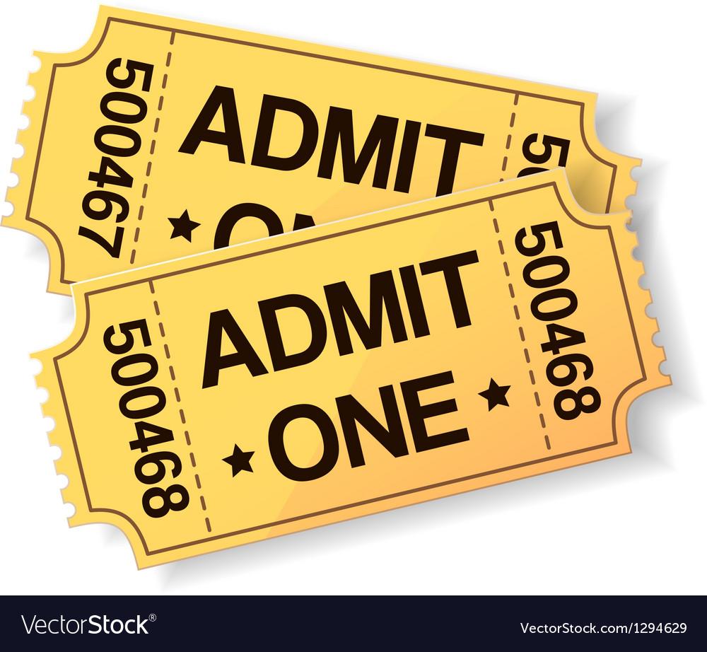 Pair of yellow cinema tickets vector