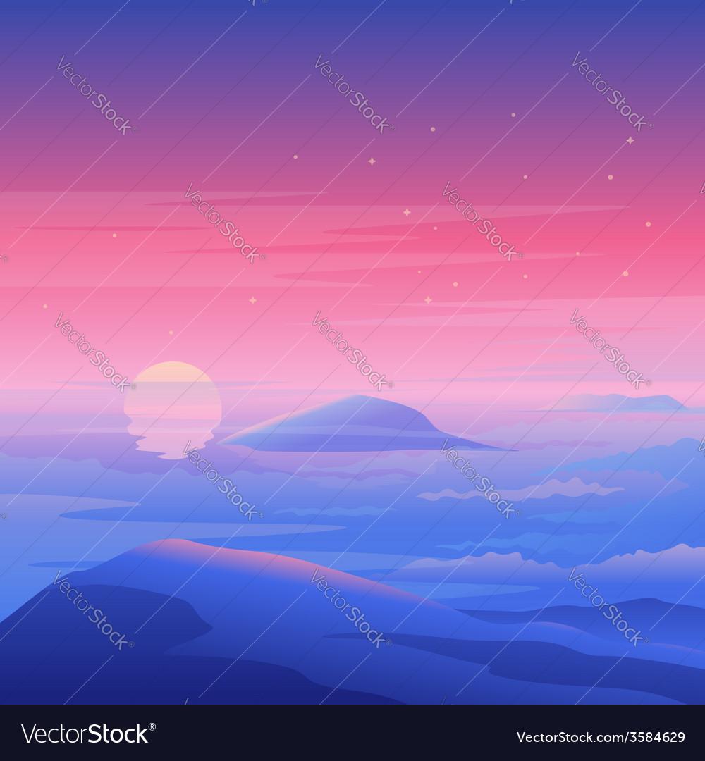 Sea sunset landscape vector