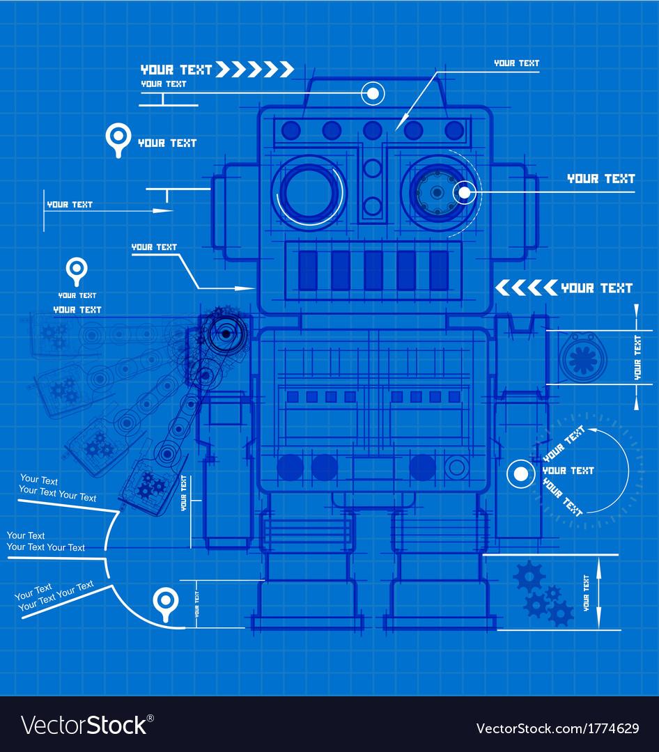 Sketch robot blueprint vector