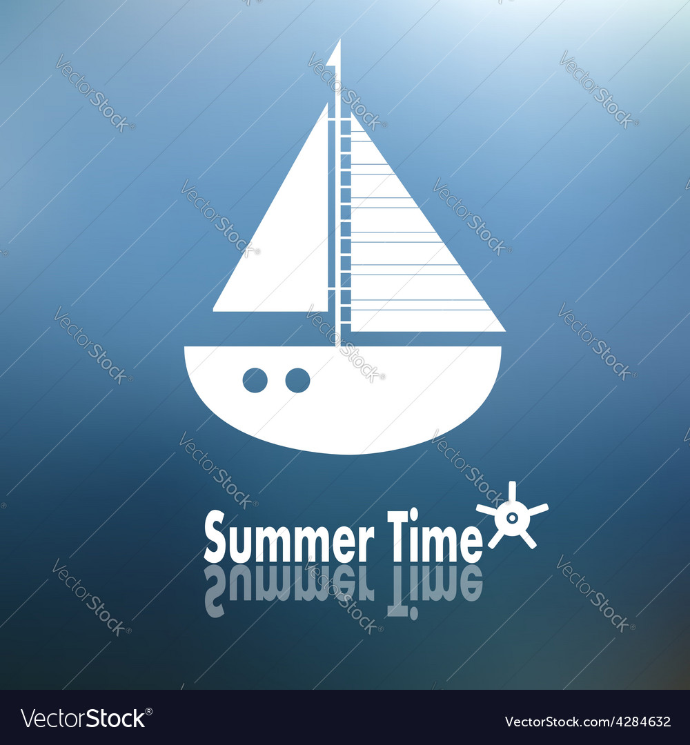 Summer time poster with ship vector