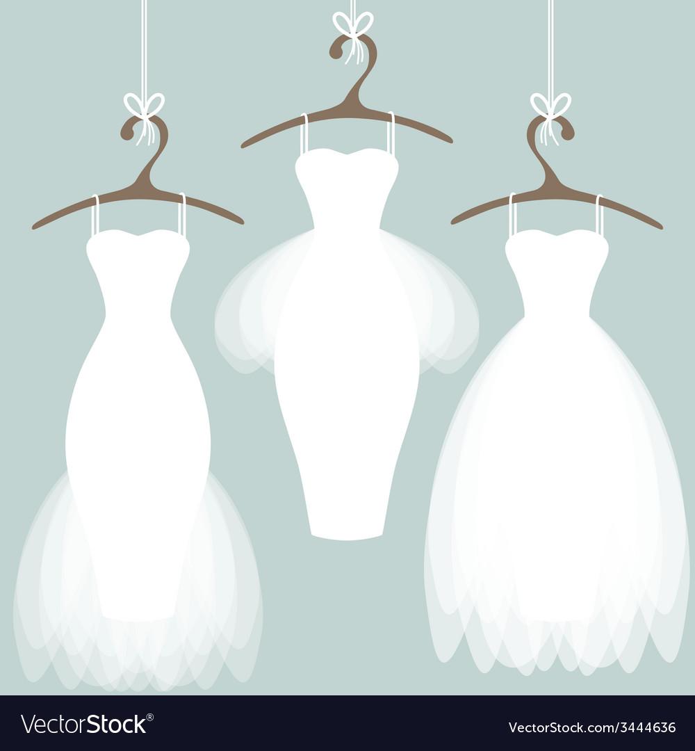 Wedding dresses on hangers vector