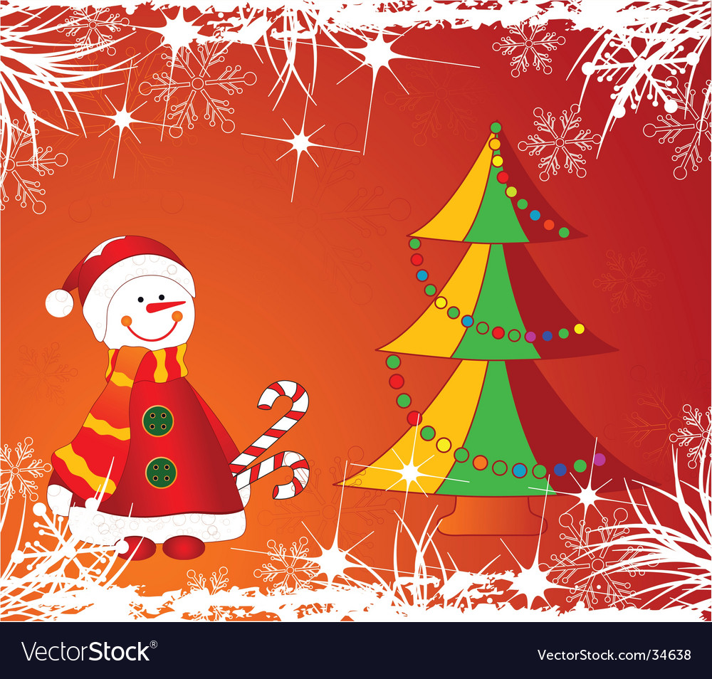Christmas decoration tree and snowman vector