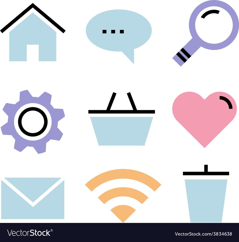 Flat design icons communication vector