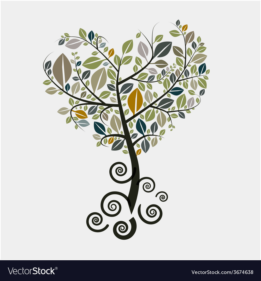 Tree symbol with curled roots vector