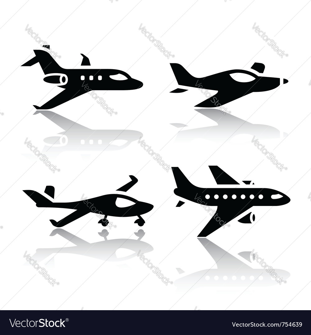 Set of transport icons - airplane vector