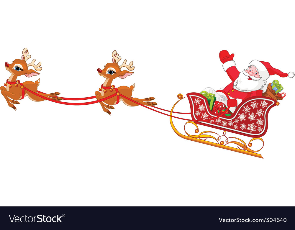 Santa claus in sled vector