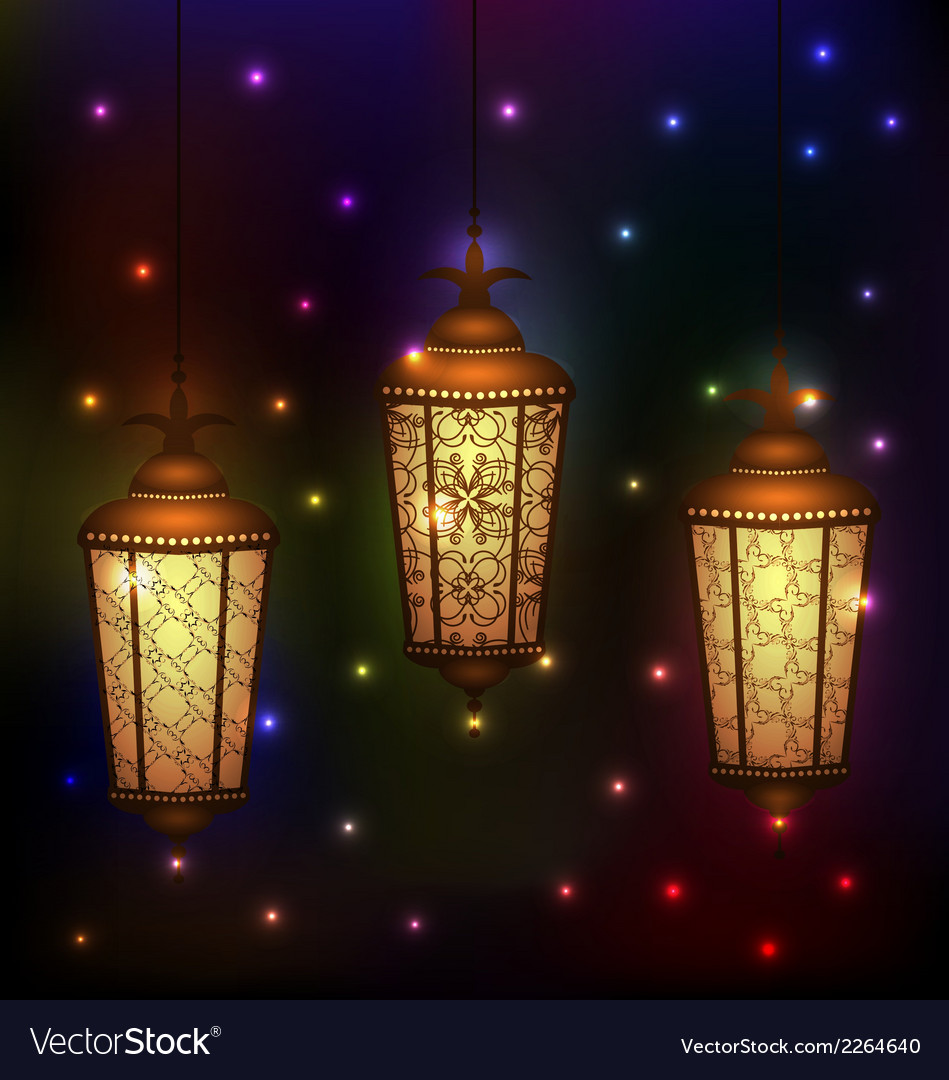 Set arabic lamps for holy month of muslim vector