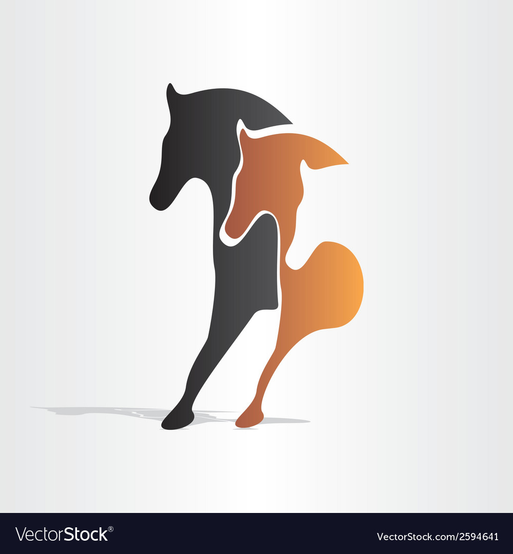 Horses running abstract design vector