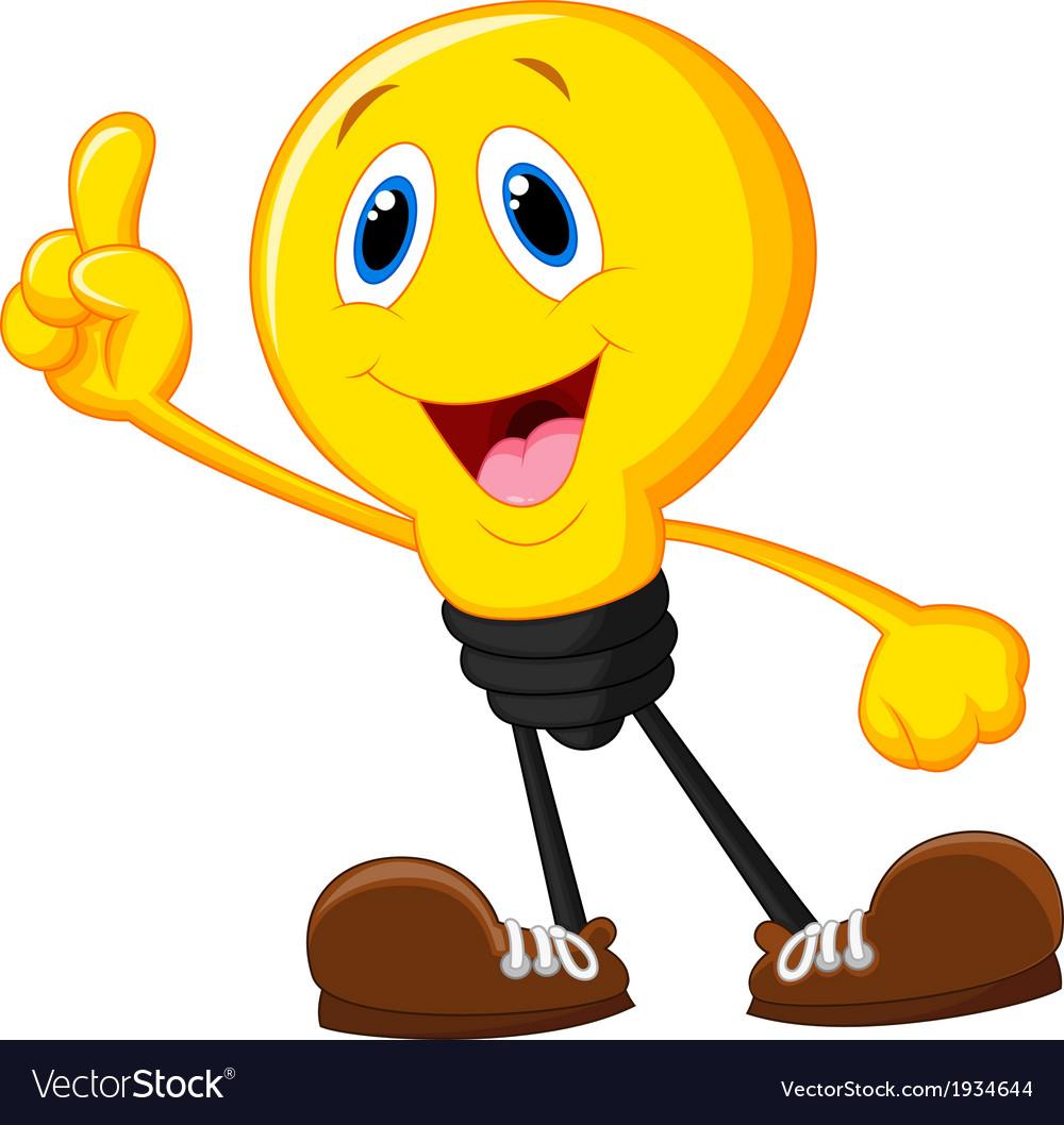 Cartoon light bulb pointing his finger vector