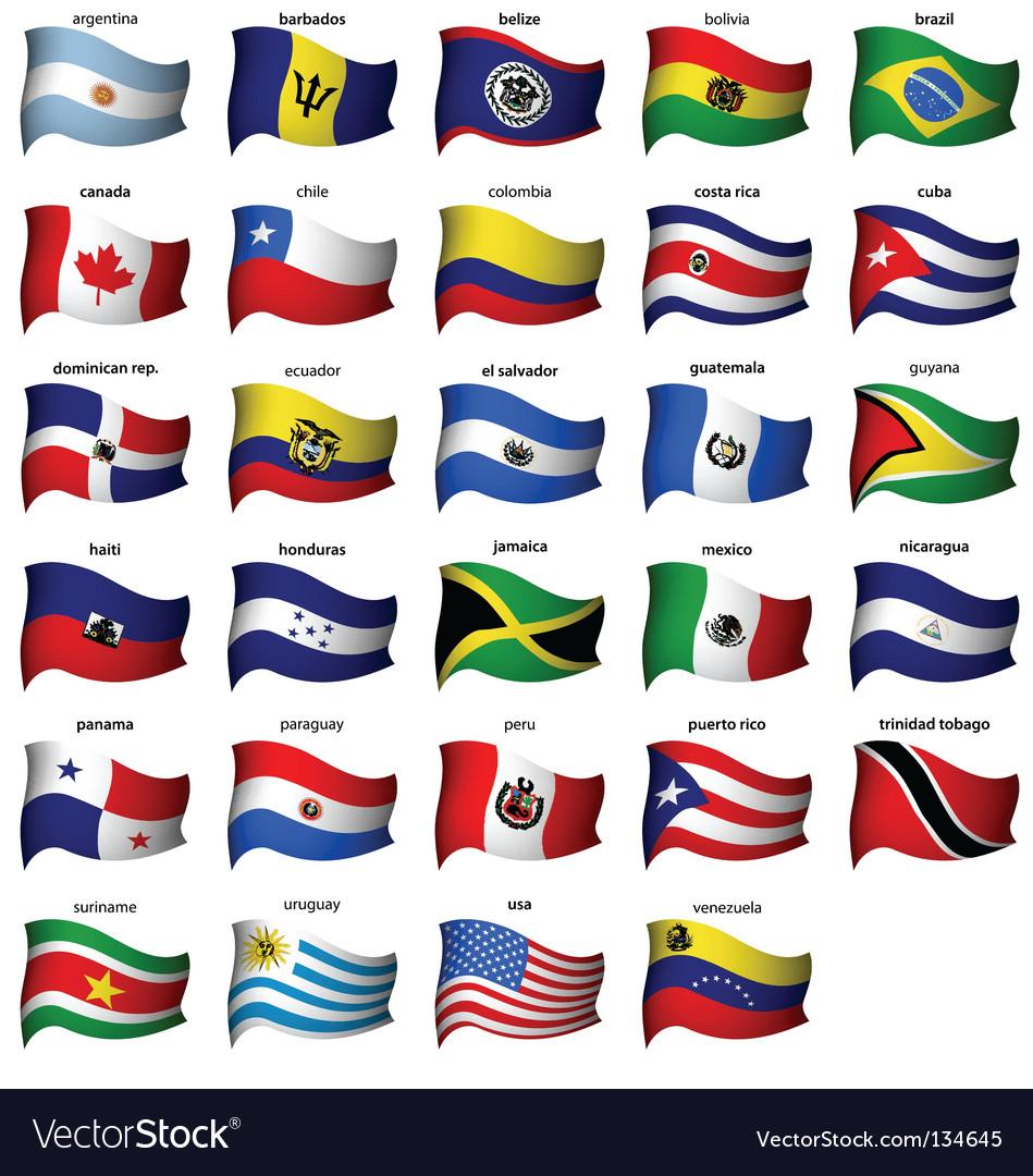 Wavy american flags set vector