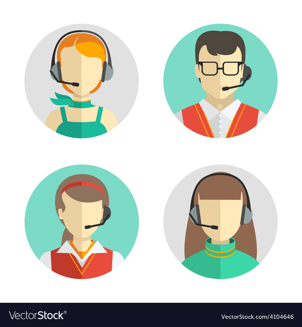 Male and female call center avatars in a flat vector