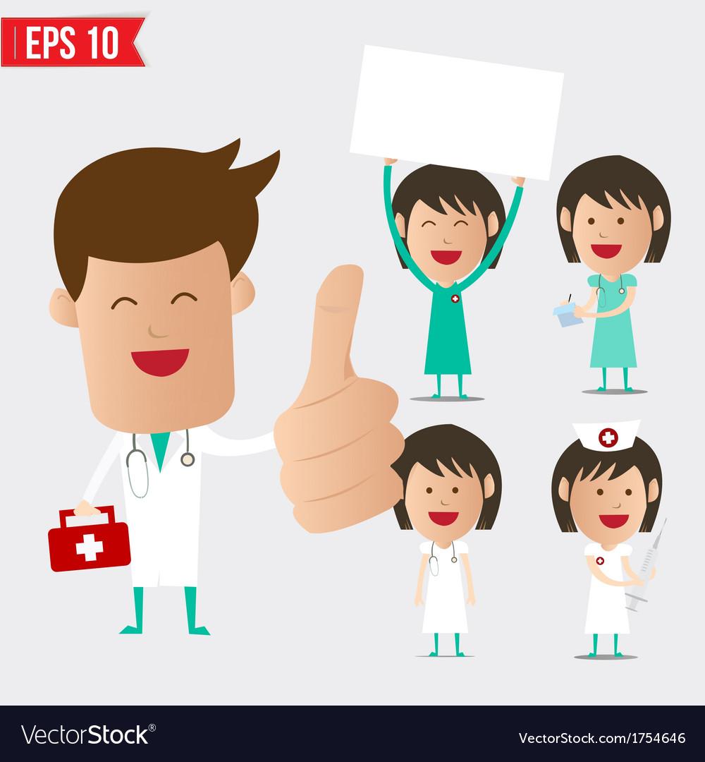 Medical doctor cartoon set - - eps10 vector