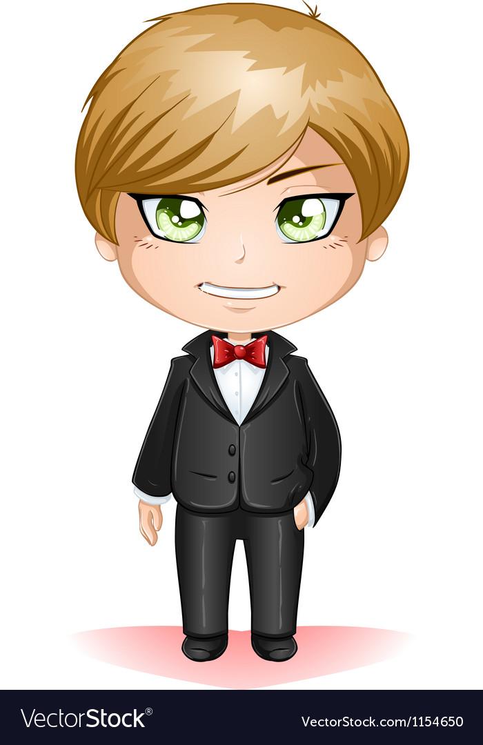 Groom dressed in black suite vector