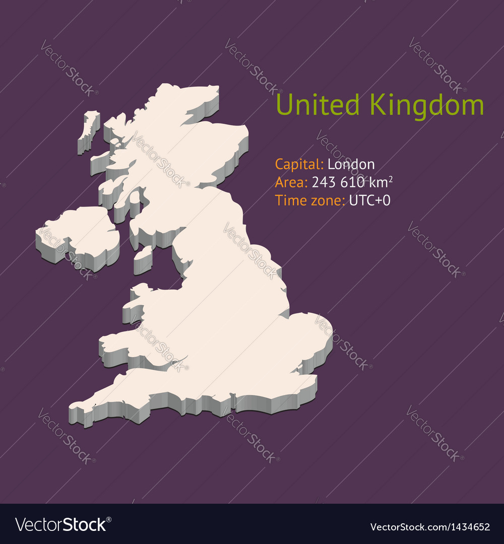 3d map of the uk vector