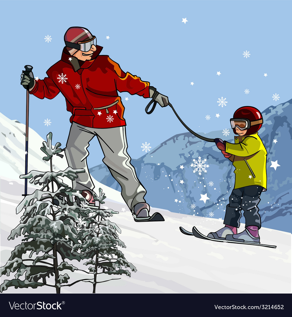 Father and son skiing in the mountains vector