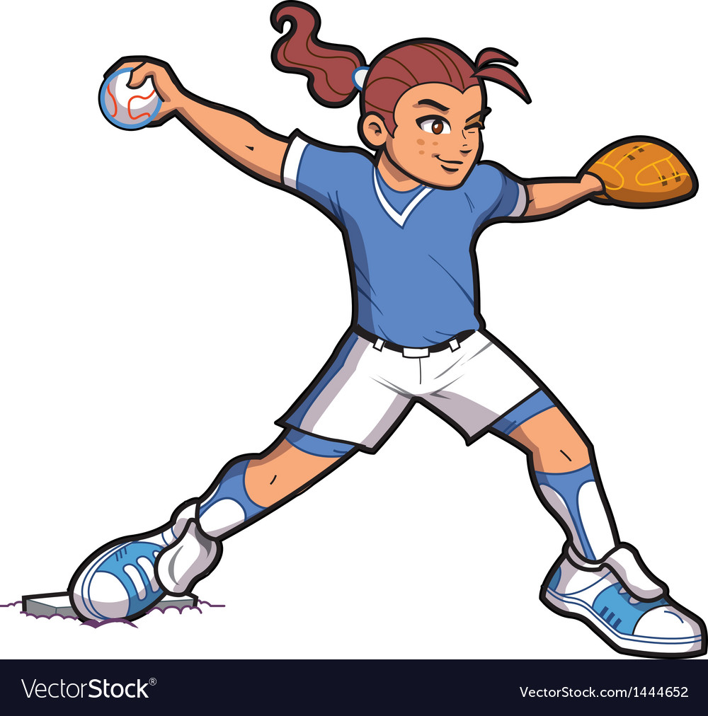 Girl softball pitcher vector
