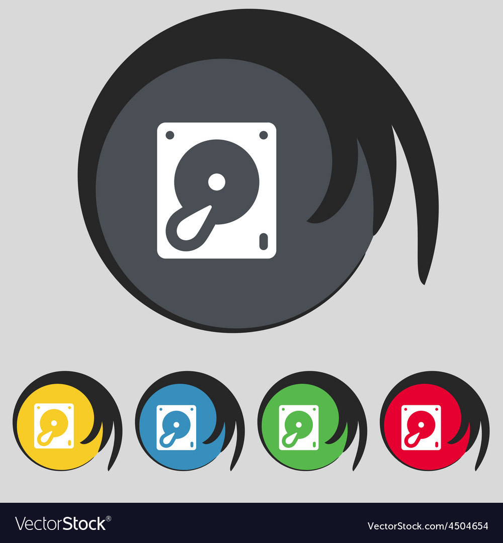 Hard disk and database icon sign symbol on five vector