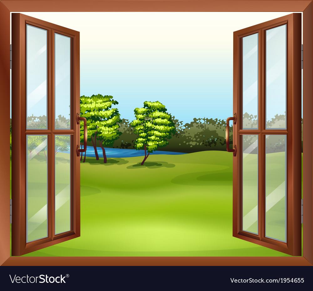 An open wooden window vector