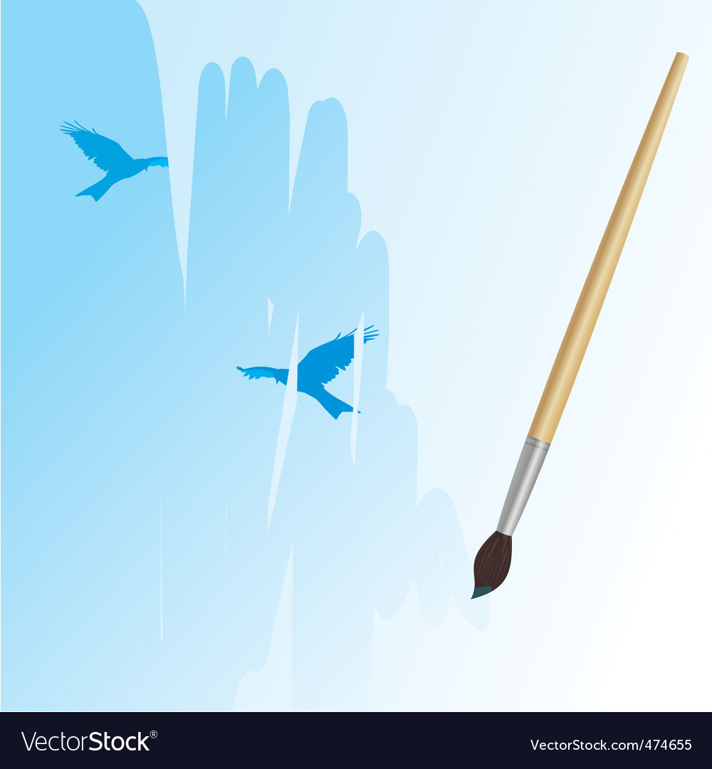 Brush drawing sky and birds vector
