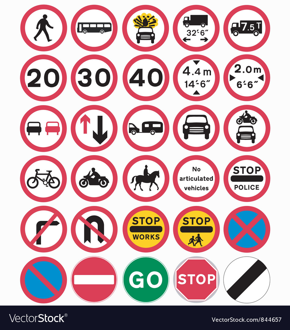 Road traffic order signs vector