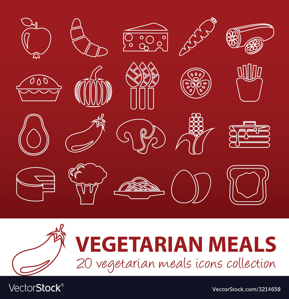 Vegetarian meals outline icons vector