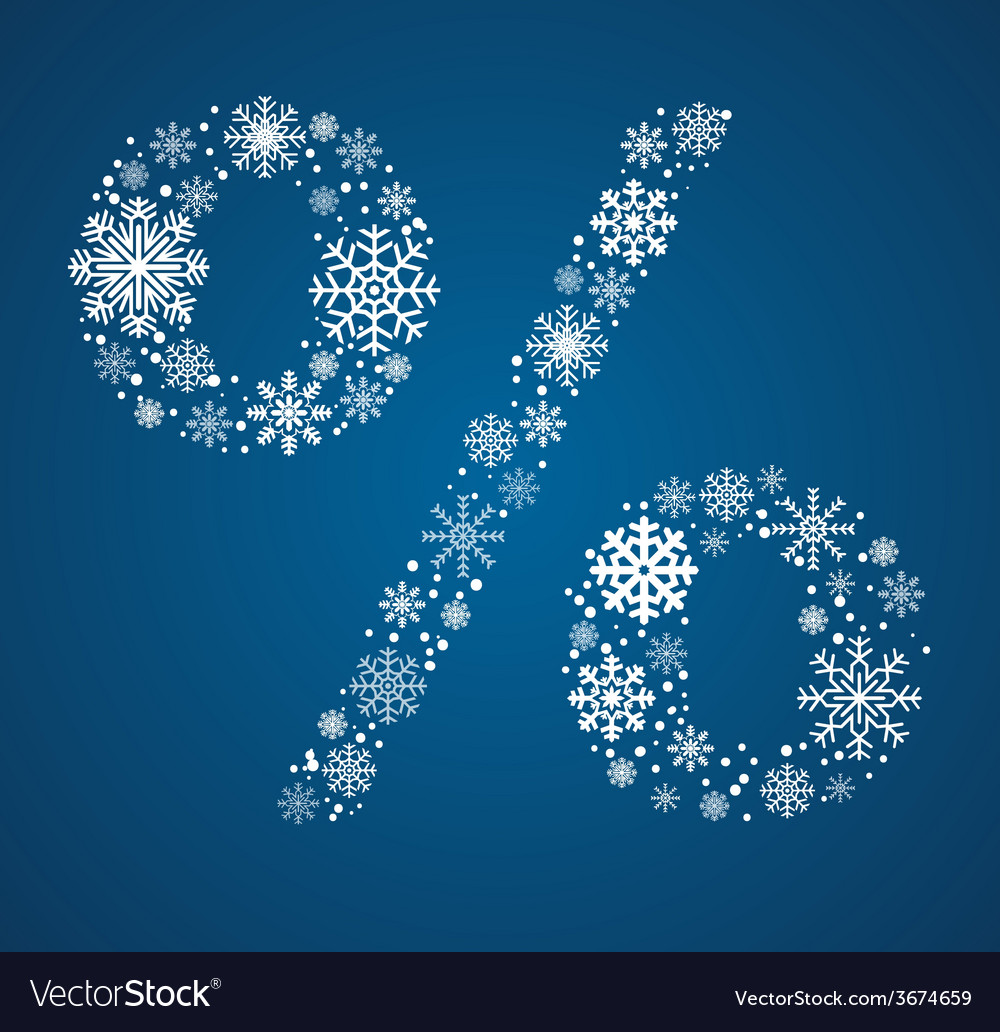 Percent sign font frosty snowflakes vector