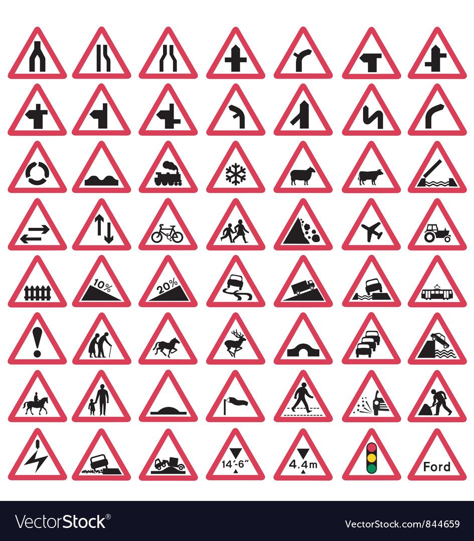 Road traffic warning signs vector