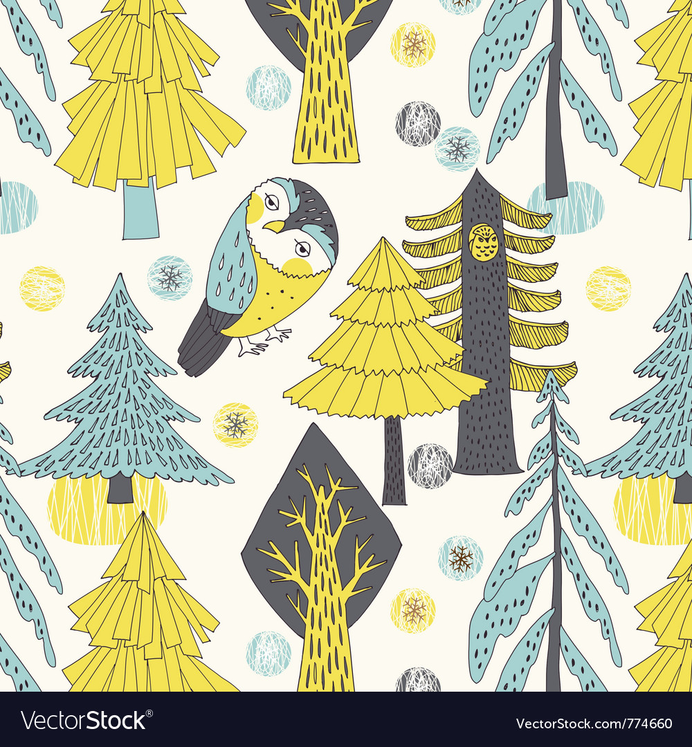 Owl and tree drawing vector