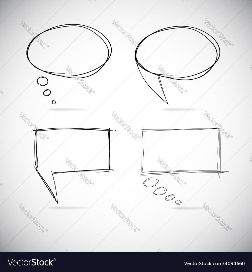 Talk bubbles sketch drawing vector