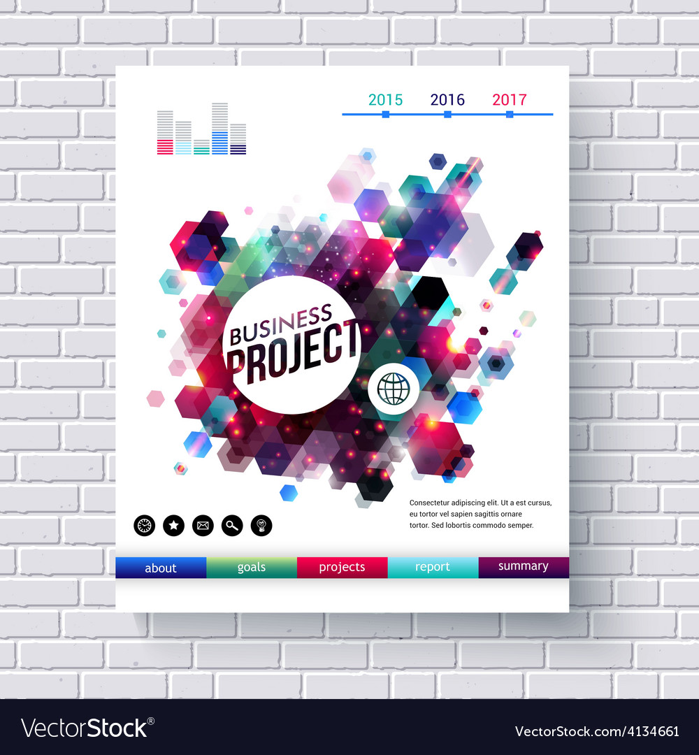 Business project web template on white brick wall vector