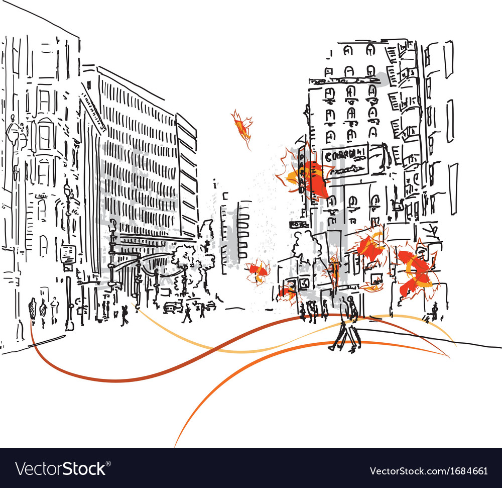 Town silhouette with people vector
