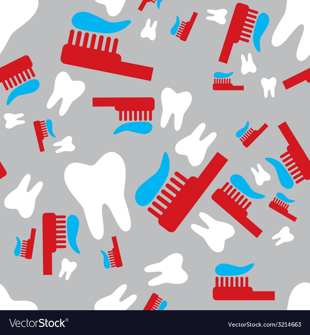 Tooth and toothbrush seamless pattern vector