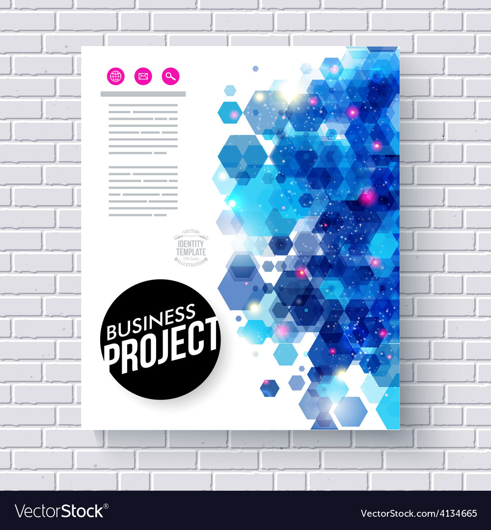 Business web template with abstract blue hexagons vector