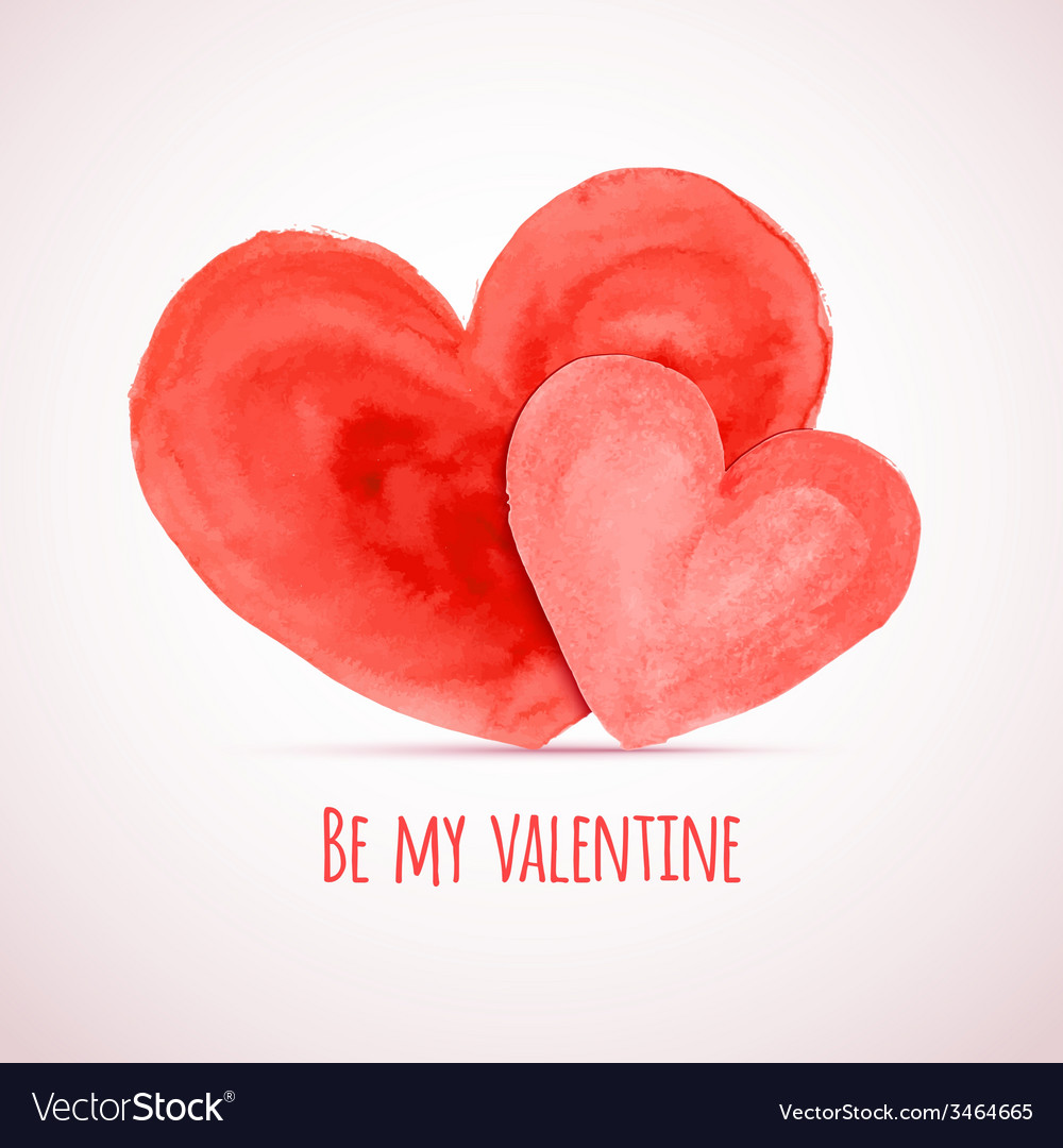 Watercolor hearts for valentines day cards designs vector
