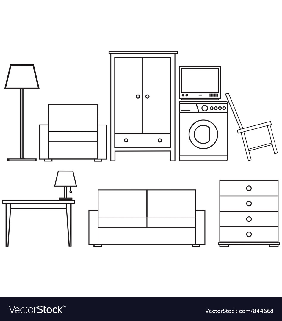 Household furniture vector