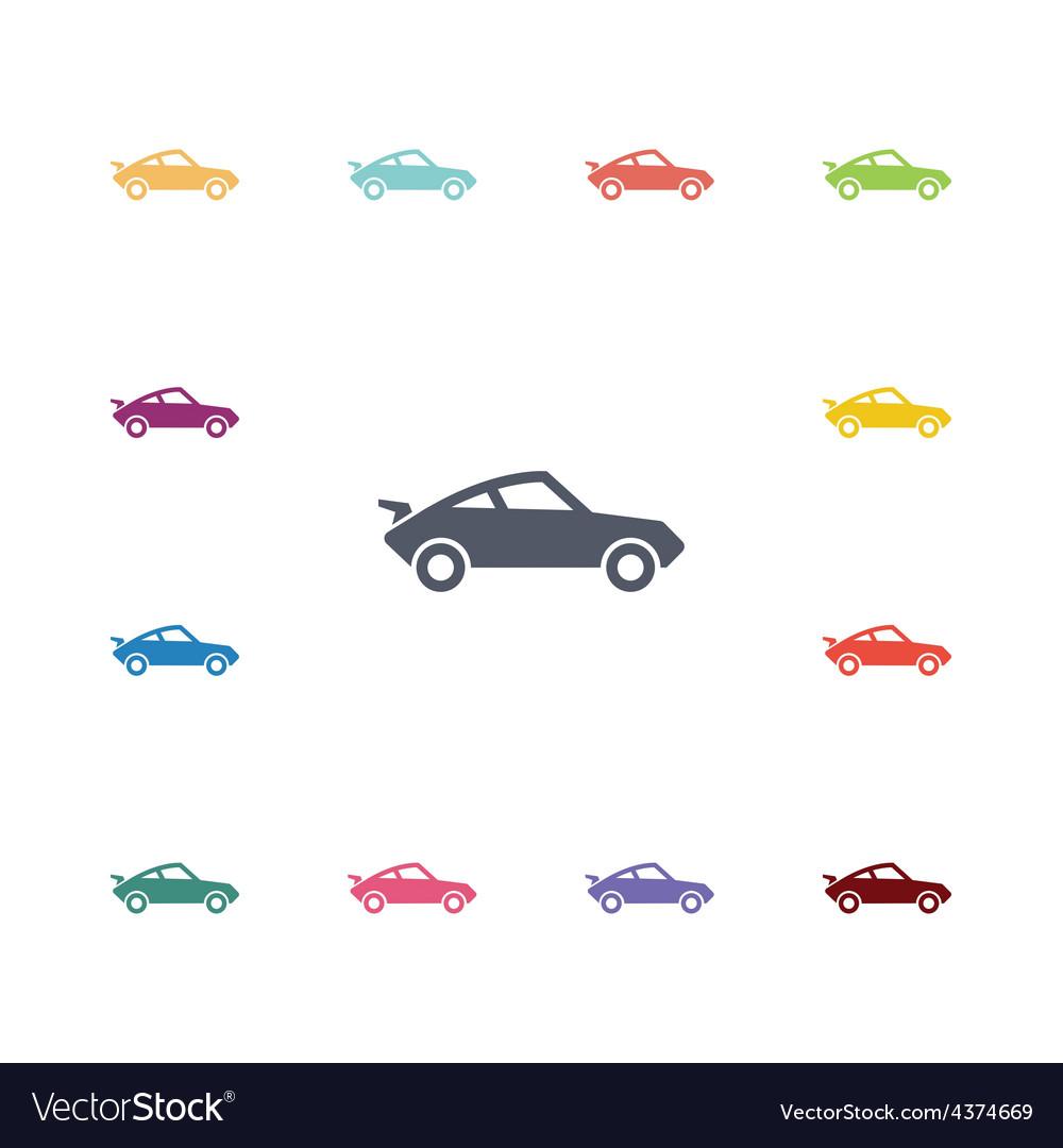 Sport car flat icons set vector
